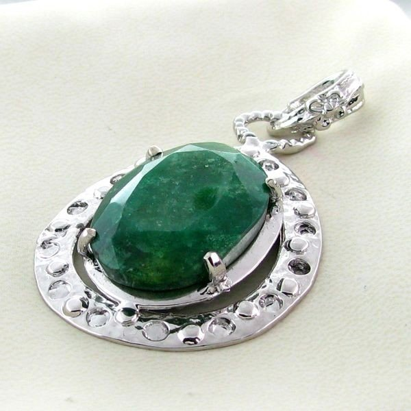 APP: 5.6k 41.58CT Emerald & Sterling Silver Pendant