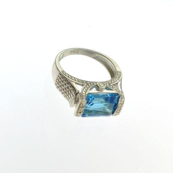 APP: 0k 5CT Topaz & Diamond platinum Sterl Silver Ring
