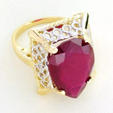 APP: 13.8k 14kt Yellow & White Gold, 13.03CT Ruby Ring