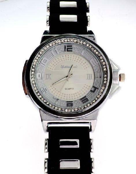 Montres Carlo (Black & Silver) Men's Watch