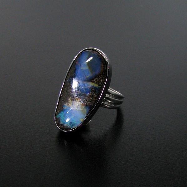 APP: 10.6k 20.40CT Boulder Opal & Sterling Silver Ring