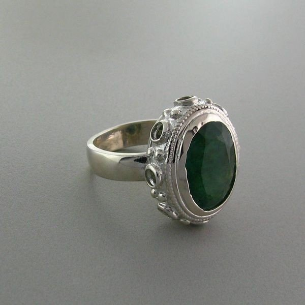 APP: 5.8k 7.46CT Emerald & Sterling Silver Ring