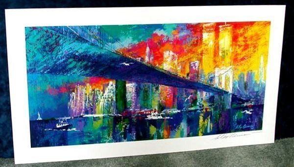 Hand Signed LeRoy Neiman: Brooklyn Bridge