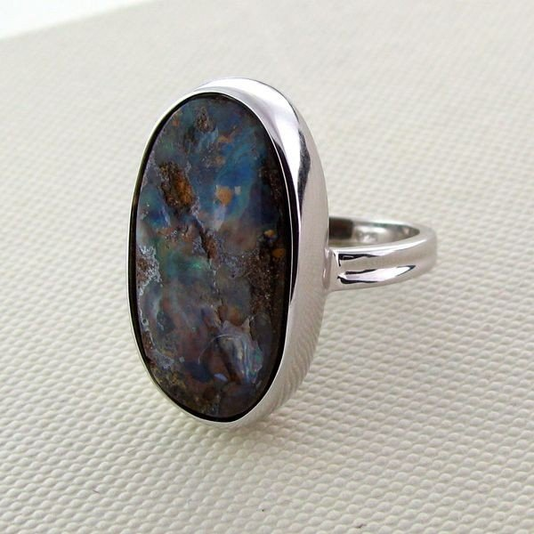 APP: 5.2k 19.13CT Boulder Opal & Sterling Silver Ring