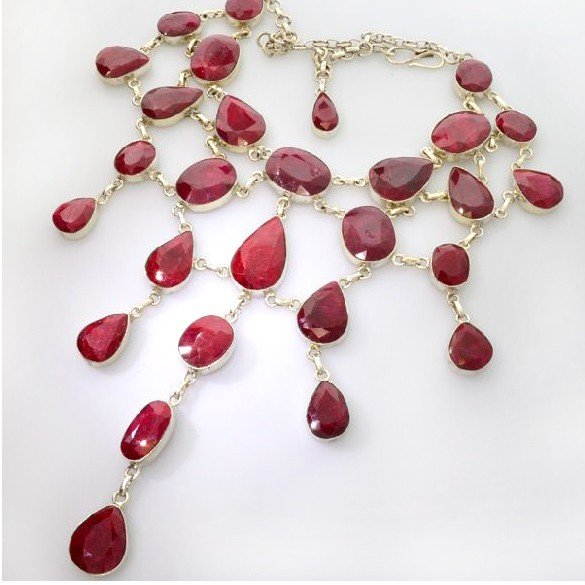 APP: 65.1k 481.19CT Ruby & Sterling Silver Necklace
