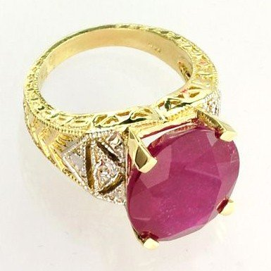 APP: 12k 14 kt. Yellow & White Gold, 12.49CT Ruby Ring