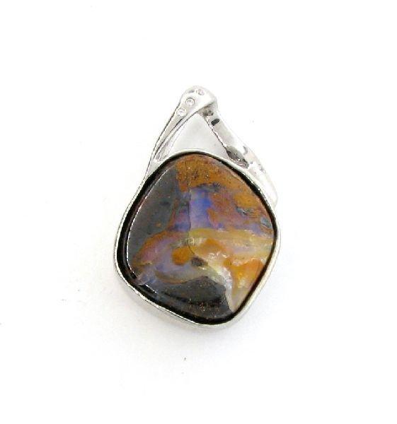 APP: 5k 57.00CT Boulder Opal & Sterling Silver Pendant