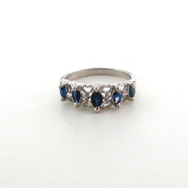 APP: 1kSapphire & Diamond Overlaid Silver Ring