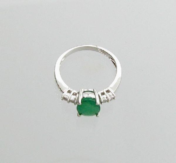 APP: 2k 18kt White Gold/Silver, Emerald & Diamond Ring