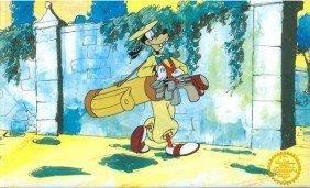 Disney Cel, Goofy Golfing, Wall On Back W/Certificate