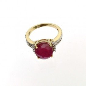 APP: 5.4k 14 Kt. Yellow & White Gold, 4.14CT Ruby Ring