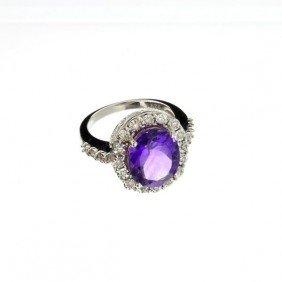 APP: 1k 4CT Amethyst & Diamond Overlaid Silver Ring