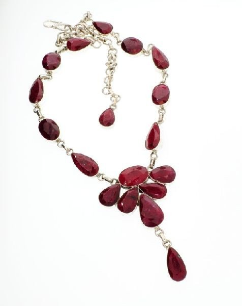 APP: 15.1k 117.06CT Ruby & Sterling Silver Necklace