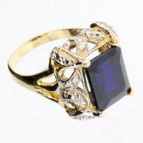 APP: 10.4k 7.06CT 14 Kt. Gold, Sapphire Ring