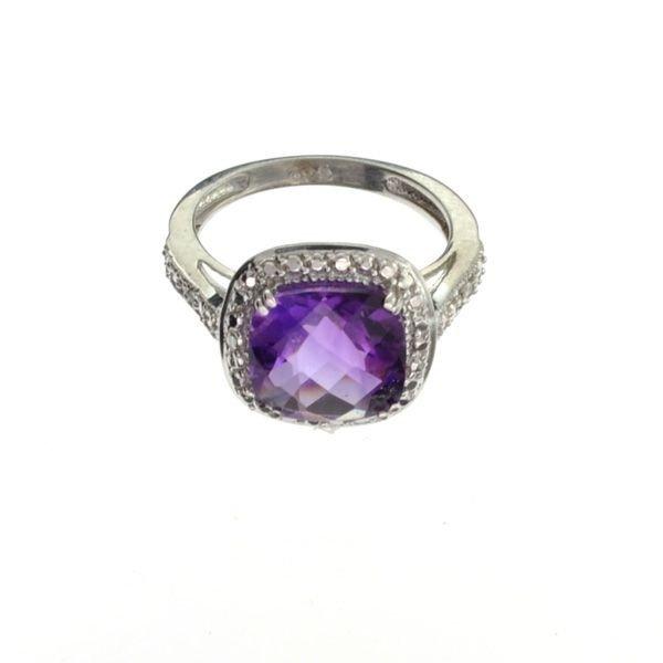 4CT Amethyst & Diamond Plat Sterl Silver Ring