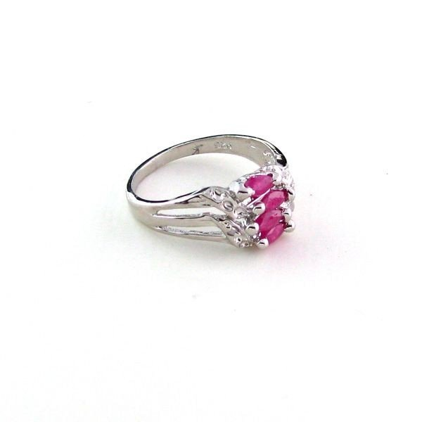 APP: 0.8k 0.53CT Ruby w/Diamonds & Sterling Silver Ring