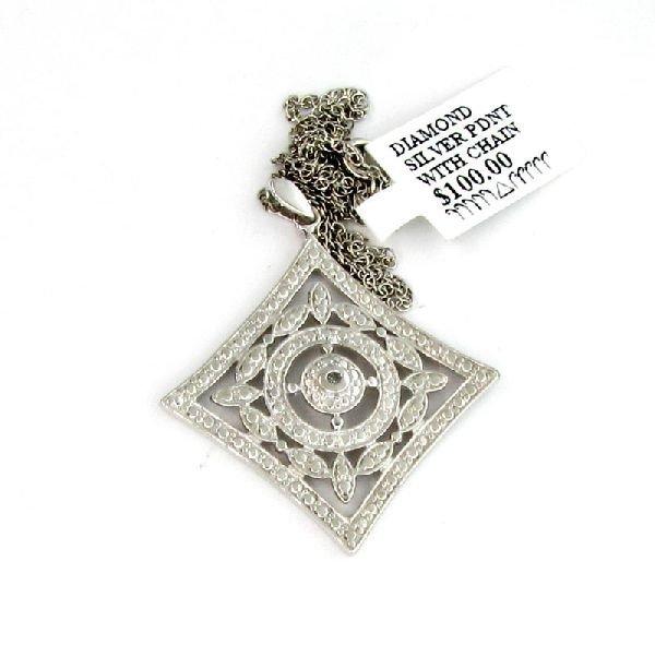 18kt White Gold & Silver, 0CTDiamond Pendant