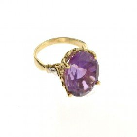 APP: 3k 14kt Yellow & White Gold, 12.13CT Amethyst Ring