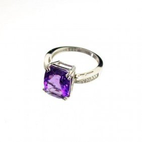 APP: 1k 4CT Amethyst & Diamond Overlaid Silver Ring