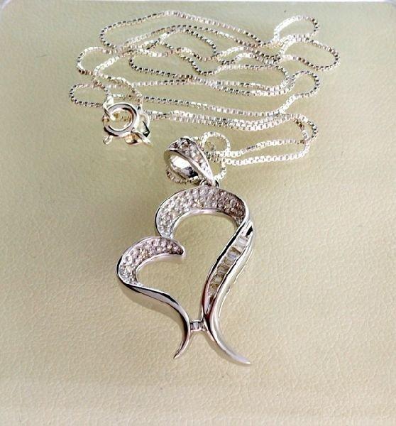APP: 0.6k 0.15CT Diamond & Sterling Silver Necklace