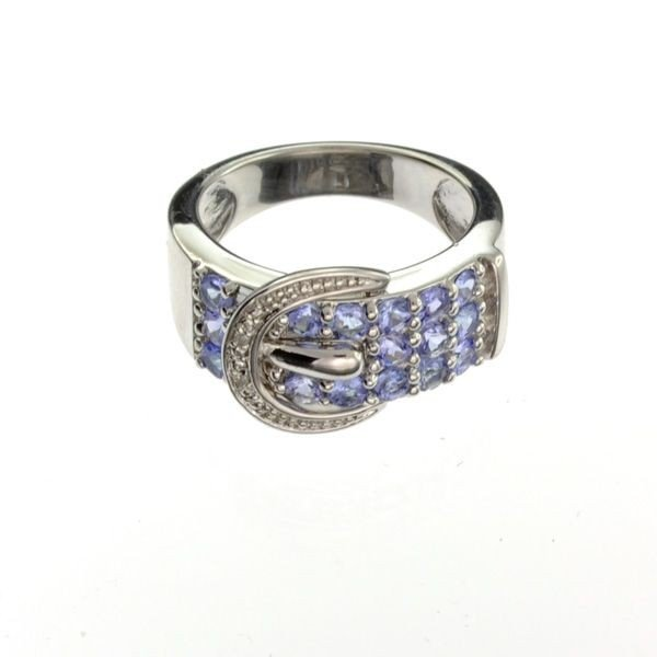 APP: 2k Tanzanite & Platinum Sterling Silver Ring