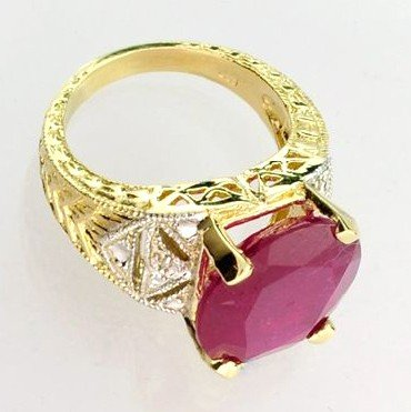 APP: 12k 14 kt. Yellow & White Gold, 9.84CT Ruby Ring