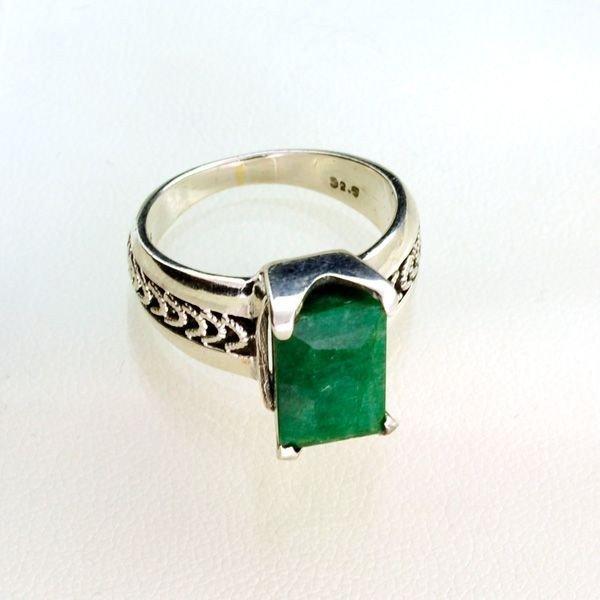APP: 1k Sebastian 3.65CT Emerald & Sterling Silver Ring