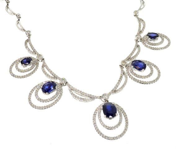 APP: 28k 14kt  Gold, 2CT Sapphire 2CT Diamond Necklace