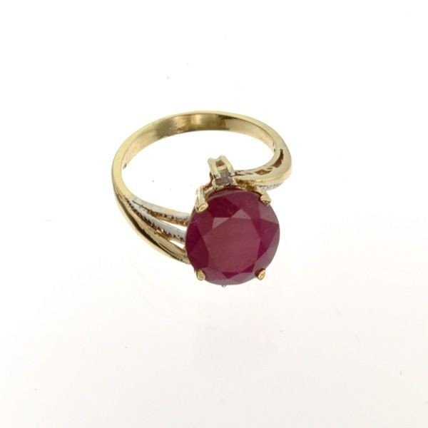 APP: 6k 14kt Yellow/White Gold, 4CT Ruby & Diamond Ring