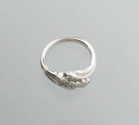 0CT Diamond & Platinum Sterling Silver Ring