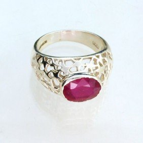 APP: 0.3k Sebastian 3.30CT Ruby & Sterling Silver Ring