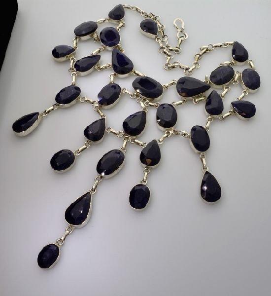 APP: 45k 317CTBlue Sapphire & Sterling Silver Necklace
