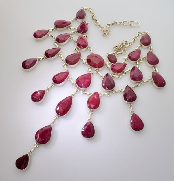 APP: 60.1k 448.58CT Ruby & Sterling Silver Necklace