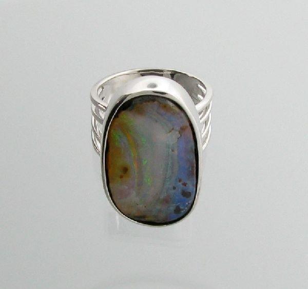 APP: 14.3k 24.20CT Boulder Opal & Sterling Silver Ring