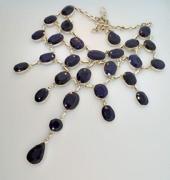 APP: 52k 371CTBlue Sapphire & Sterling Silver Necklace