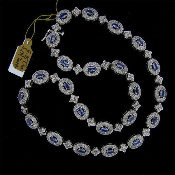 APP: 19k 5CT 14kt White Gold Tanzanite/Diamond Necklace