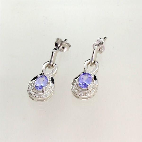 APP: 1k Tanzanite & Overlaid Sterl Silver Earrings