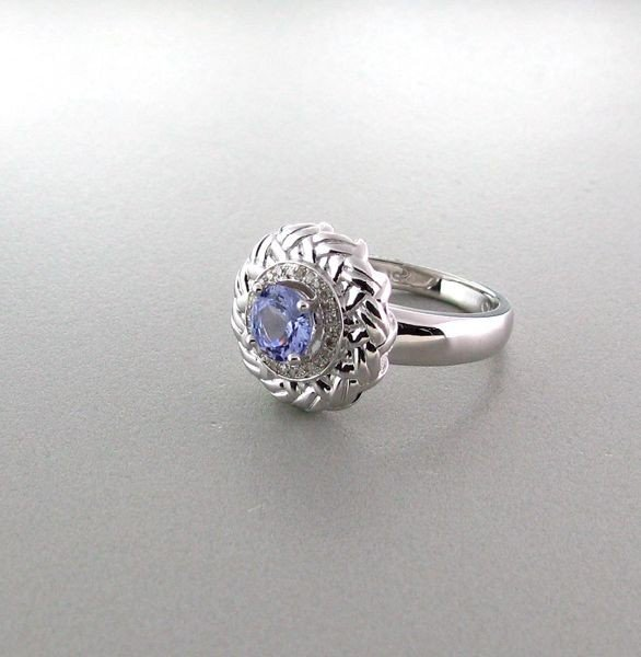 APP: 1k 18kt White Gold/Silver Tanzanite/Diamond Ring