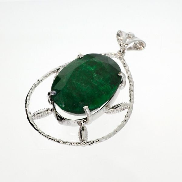 APP: 3.9k 90.20CT Emerald & Sterling Silver Pendant