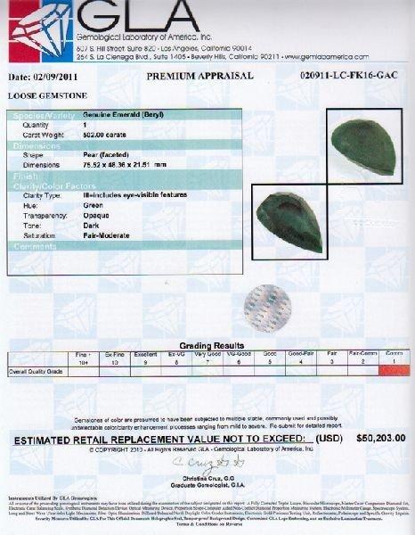 APP: 50.2k 502.00CT Pear Cut Emerald Gemstone - 3