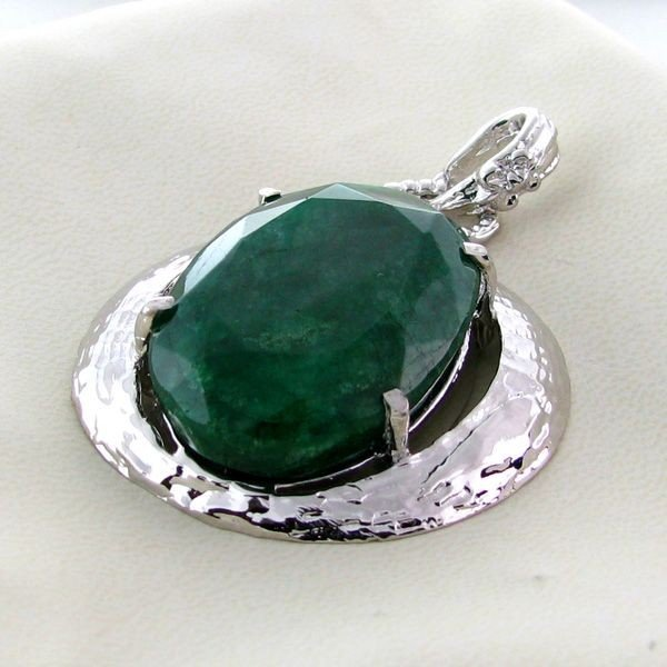 APP: 8.8k 67.01CT Emerald & Sterling Silver Pendant
