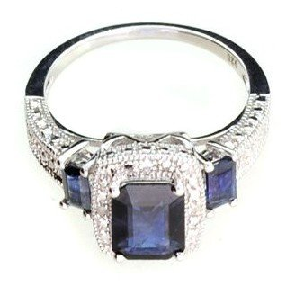 APP: 2k 2CT Sapphire & Plat Overlaid Sterl Silver Ring