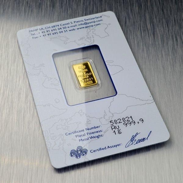 1 gram (999.9) Fine Gold Credit Suisse Coin - 2