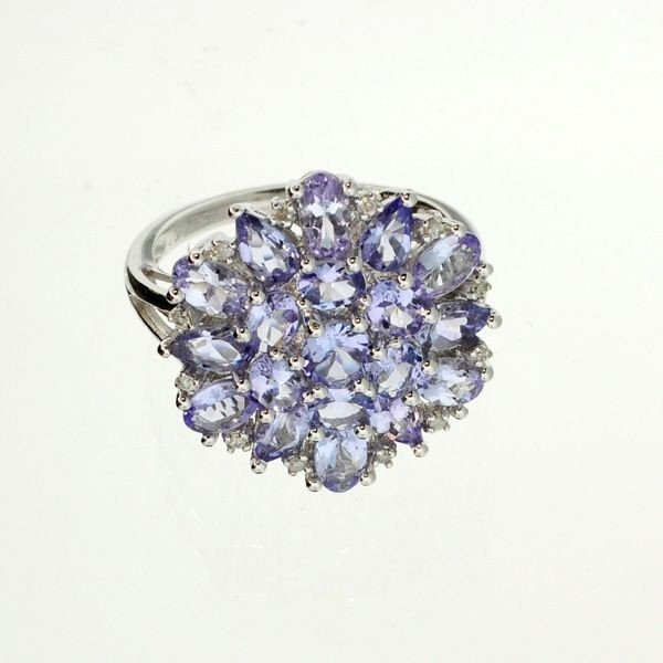 APP: 5.8k 18kt Silver, 3.82CT Tanzanite & Diamond Ring