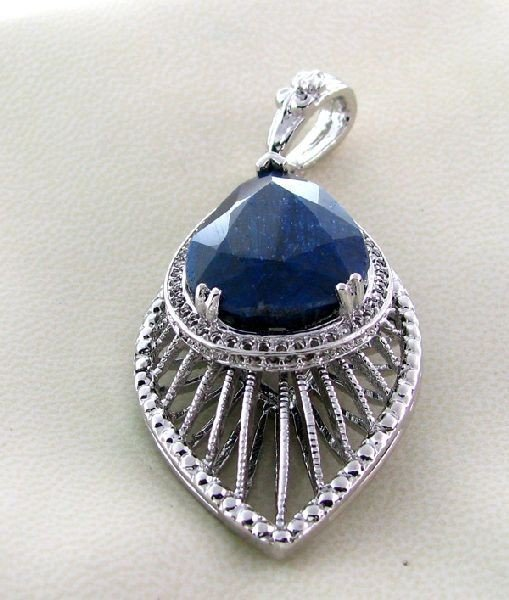 APP: 4k 30.47CT Blue Sapphire & Sterling Silver Pendant