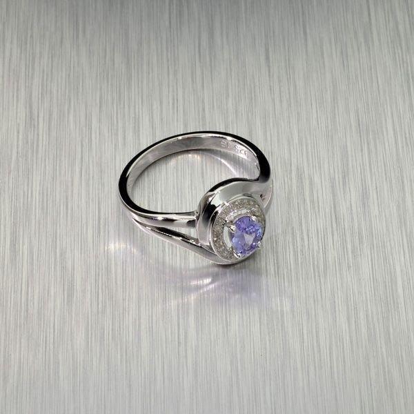 APP: 0k 0CT Tanzanite & Diamond Plat Sterl Silver Ring