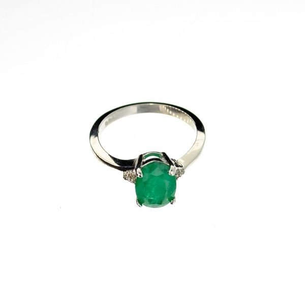 APP: 1k 1CT Emerald & Plat Overlaid Sterl Silver Ring