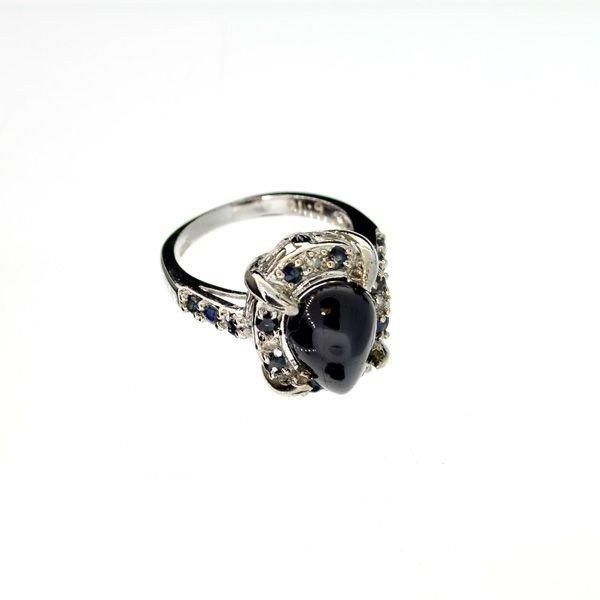 APP: 4k 6.04CT Sapphire w/Diamond & Sterl Silver Ring