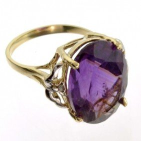 APP: 3k 14kt Yellow & White Gold, 12.04CT Amethyst Ring