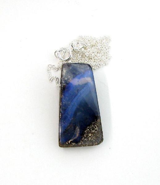 APP: 10.9k Boulder Opal & Sterling Silver Necklace